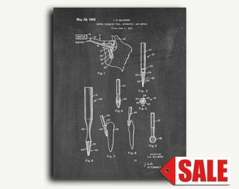 Patent Print - Dental Cleaning Tool Patent Wall Art Poster