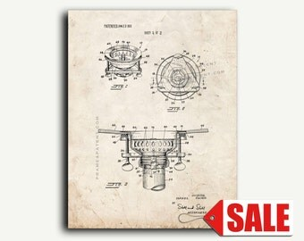Patent Print - Basket Sink Strainer Patent Wall Art Poster