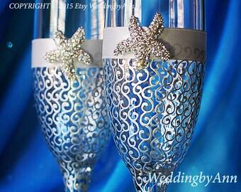 Silver Starfish wedding champagne glasses, Beach Wedding glasses, Wedding toasting glasses, Wedding gift, Bridal shower gift