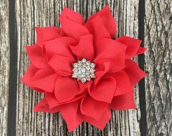 Coral orange hair clip, flower girl hair clip, rhinestone hair clip, flower hair clip, alligator clip, wedding clip