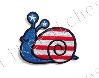 American Flag Blue Snail Animal Print Cute Patch New Sew / Iron On Patch Embroidered Applique Size 6.7cm.x6cm.