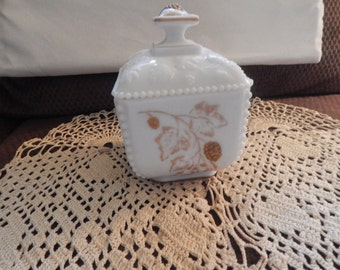 Westmoreland Beaded Grape Covered Dish with Gold Painted Highlights