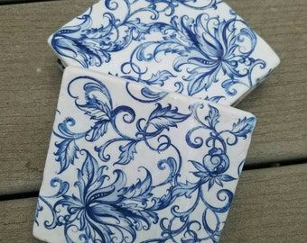 Watercolor blue floral Set of 4 coasters