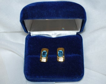 D'Orlan Signed  Gold Tone Blue glass Earrings