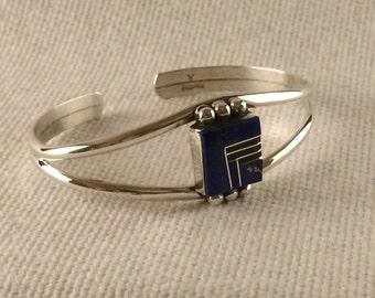 Vinage Sterling Silver .925 Lapis Modernist Bracelet