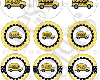 "1"" Digital Bottle Cap Sheet **INSTANT DOWNLOAD** Back To School Bus"