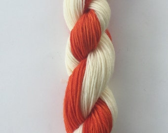 Hand Dyed Yarn SW Worsted weight self striping yarn 100% SuperWash merino wool | 100 grams Orange and White super soft FREE US shipping