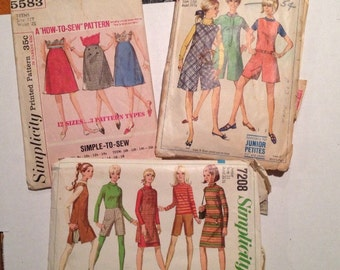 A set of 1960's Simplicity Junior Sized Patterns # 5583, 7208 & 7215