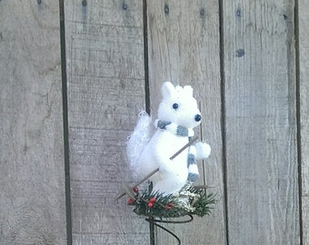 Christmas Tree Topper Bed Spring White Squirrel  On Skis Holiday Decor Rustic