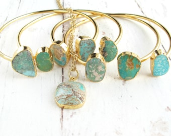 Rustic Boho Gift Set-Turquoise Jewelry-Turquoise Cuff Bracelets and Necklace-Bohemian Gifts-Boho Turquoise Jewelry-Summer Festival Jewelry