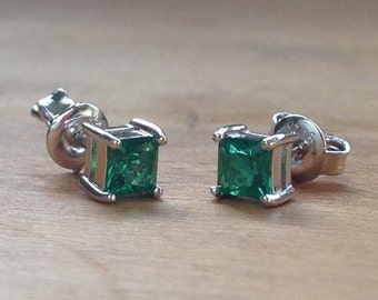 Emerald green square sterling silver stud minimalist earrings