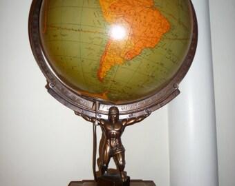 Very rare Art Deco George F. Cram Atlas figurine Illuminated Globe #7360 - c. 1930