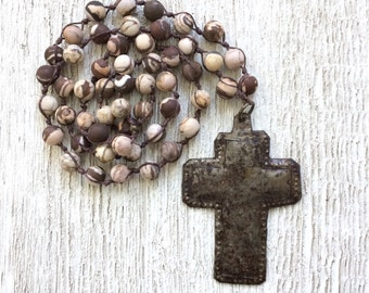 Long Beaded Hand Knotted Jasper Gemstone Necklace with Rustic Hammered Metal Cross, Boho Chic Long Necklace
