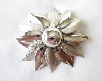 Signed Coro Silver Tone Flower Brooch