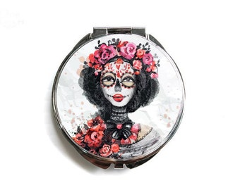 Compact Mirror Skull Illustration