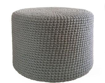 Pouffe, Wool Pouf, Crochet Pouf, Modern Rustic, Handmade Interior
