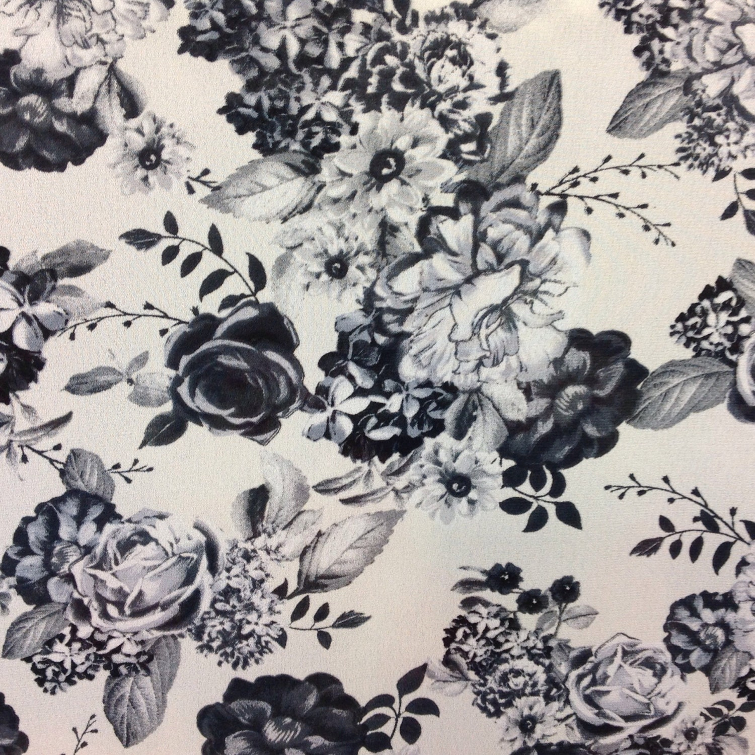 White Black Floral fabric by the yard Black White Fabric