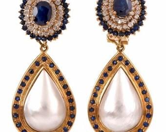 Vintage Diamond Sapphire Pearl Drop Gold Earrings