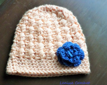 Toddler Spring Hat/ Toddler Beanie/ Peach/ Blue Royal/ Toddler gift/ church baby hat/ floral/ baby present/ birthday gift/ motherhood/child