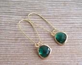 Emerald Glass Earrings, Green Gold Earrings, Minimalist Earrings, Holiday Earrings, Everyday Jewelry, Gift For Her, Simple Earrings