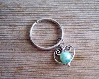 Heart Keychain, Filigree Silver Heart Key Chain, Bridesmaid Gift, Aqua Robin's Egg Blue Pearl Bead, Blue and Silver Keychain, Heart Key Ring