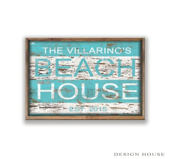 Personalized Beach House Plaques: Personalized Beach House Decor Summer House Signs Beach Signs