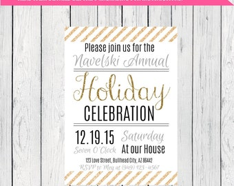 Holiday or Christmas Party Invitation ***Digital File*** (Holiday-Gold stripe)