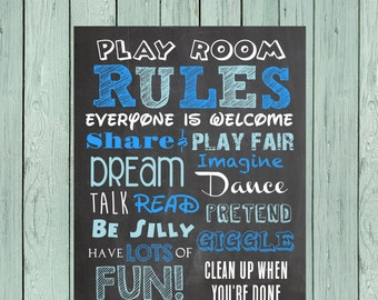 Playroom Rules Chalkboard Digital File *****INSTANT DOWNLOAD**** Size 16x20, 11x14 and 8x10
