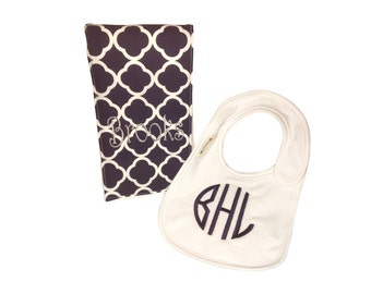 Monogrammed bib and burp cloth. Custom made for boy or girl.
