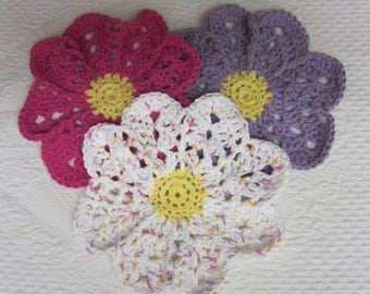 Crochet Dishcloth,Washcloth,Dish Rag,Wash Rag,Cotton Yarn,Flower Dishcloth,Set of 3,Pink,Purple,Flower Shape,Kitchen Decor,Retro Decor,gift