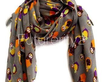 Beautifully Handcrafted Russian Dolls Grey Scarf Summer Scarf / Spring Scarf / Gift For Her / Women Scarves / Fashion Accessories
