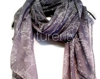 Light Grey Lotus Flower Spring Summer / Autumn / Winter Scarf / Gift For Her / Women Scarves / Accessories / Handmade