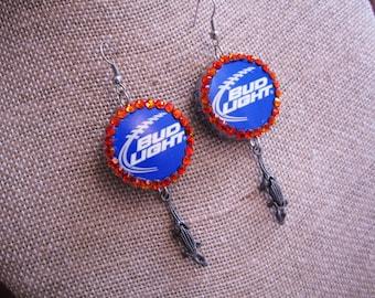 Bud Light Bottle Caps Blue & Orange Florida Gators Earrings w/Rhinestones