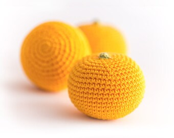 1 Pcs - Crochet orange, crochet fruit, teether teeth, play food, kitchen decoration, eco-friendly toys - MiniMom's