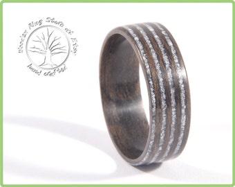 Black Walnut Thin Seashel Infinity Ring Inlay, Rustic Engagement ring, Eternity ring
