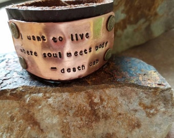 """Death Cab for Cutie """"Soul Meets Body"""" Lyrics Stamped Copper Leather Cuff Bracelet Band"""