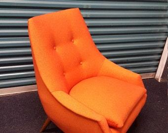 Danish lounge chair in orange wool, circa 1955