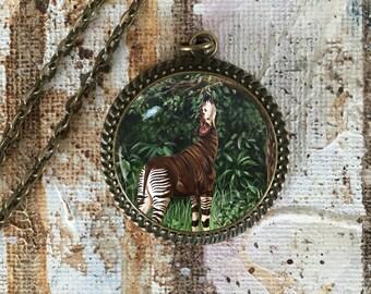 Okapi Necklace, Okapi jewelry, wildlife jewelry, wildlife art, okapi art