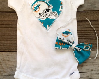 Miami dolphins babygirl onesie and headband set
