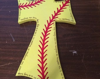 16 inch hand painted softball cross