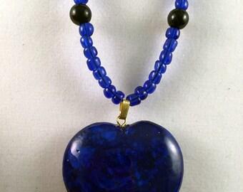 Pretty Riverstone Heart Pendant Necklace
