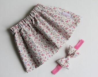Girl's Skirt, Floral Skirt, Pink Skirt, Baby Skirt, Toddler Skirt, Cotton Skirt, Skirt Set, Girl's Headbands