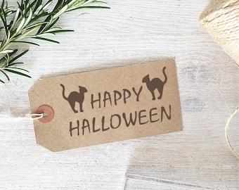 Happy Halloween Black Cats Stamp
