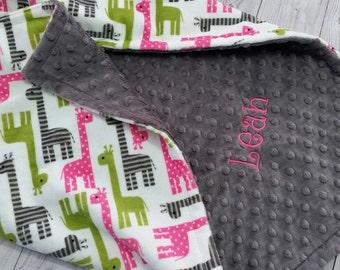 Personalized Minky Baby Blanket, Baby Girl Minky Blanket, Giraffe Minky Blanket, Girl Baby Blanket, Giraffe Baby Blanket, Baby Minky Blanket