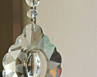Crystal Suncatcher, big hanging prism, minimalist theme, crystal hanging, house gift, anniversary gift, feng shui crystal, made in Australia