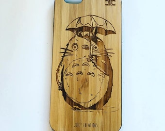 Totoro // Bespoke Engraved Bamboo Wooden Phone Case for iPhone 5/6/7/8/X Samsung S4/S5/S6/S7/S8 Tribal Anime Kawaii