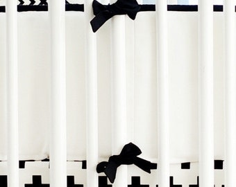 Black & White Crib Bumper | Black Swiss Cross Crib Collection