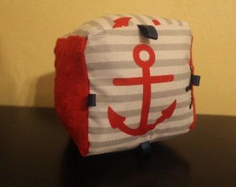 Grey nautical fabric baby block/rattle/crinkle/sensory toy