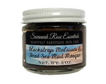 Blackstrap Molasses & Dead Sea Mud Mask - Face Mask - Detoxifying Mask - Oily Skin - Acne Mask - Natural - Minerals - Gift - Blackhead Mask.