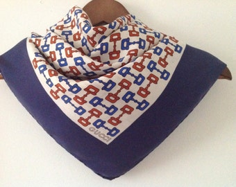 """70s GUCCI Scarf Horsebit Print , Silk Scarf, made in Italy, 34"""" by 33.5"""", Designer Scarf"""